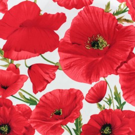 Gabardine fabric - Red Poppy x 20cm