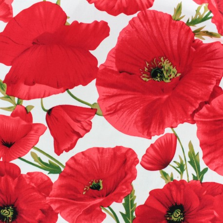 Tissu Gabardine Coquelicot - Rouge x 20cm