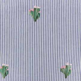 ♥ Coupon 20 cm X 140 cm ♥ Embroidered Striped Poplin fabric - Blue Cactus