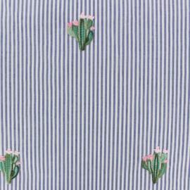 Tissu popeline rayé et brodé cactus - bleu x 10cm