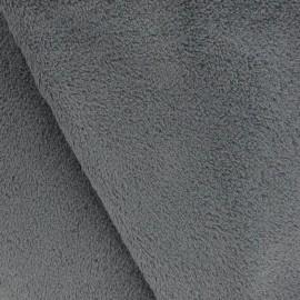 Tissu Doudou uni gris x10cm