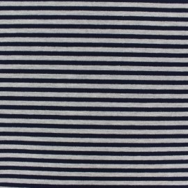 Modal Striped French Terry fabric - Navy/grey x 10cm