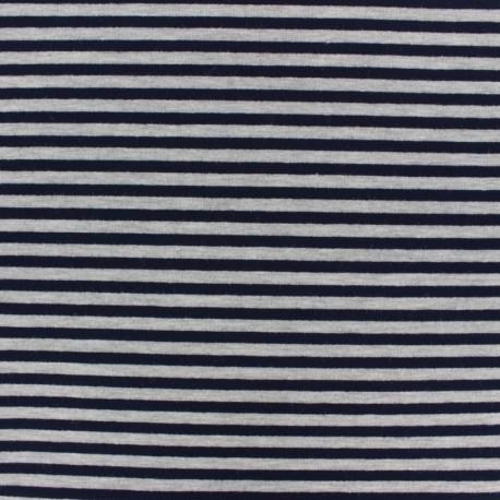 Tissu sweat léger modal rayé - marine/gris x 10cm