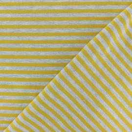 Modal Striped French Terry fabric - yellow/grey x 10cm