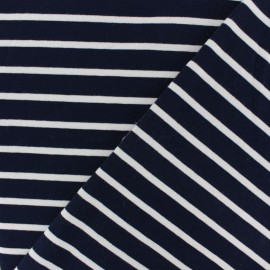 French terry fabric raw stripes - navy blue x 10cm