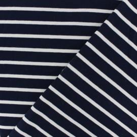 Tissu Sweat léger rayé écru - bleu marine x 10cm
