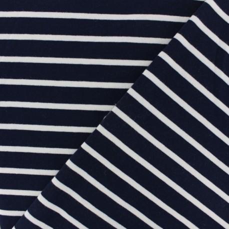 French terry fabric raw stripes - navy blue x 10cm