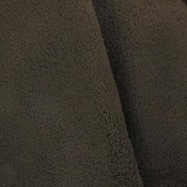 Tissu Doudou uni marron x10cm