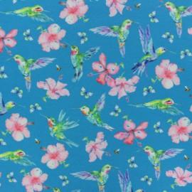 Poppy Jersey fabric - Blue Humming bird x 10cm