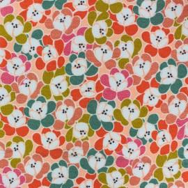 Tissu piqué de coton Poppy Retro flower - orange x 10cm