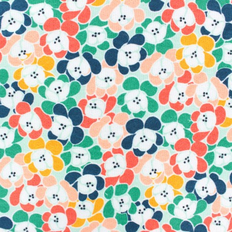Waffle stitch cotton fabric - Orange Retro flower x 10cm