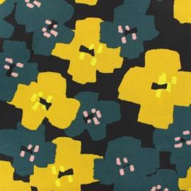 Tissu coton Rico Design Okina Hana fleur - noir x 10cm