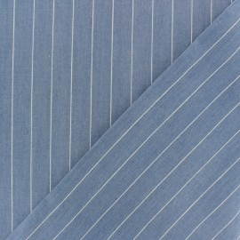 Striped cotton chambray fabric - light blue x 10cm