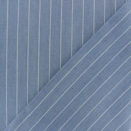 Tissu coton chambray rayé Aspect jean - bleu clair x 10cm