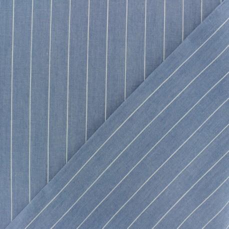 Striped cotton chambray fabric - light blue x 10cm