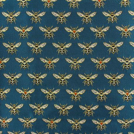 Tissu Jacquard Abeille - bleu paon x 10cm