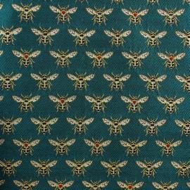 Tissu Jacquard Abeille - émeraude x 10cm
