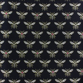 Jacquard fabric - black Bee x 10cm
