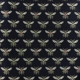 Tissu Jacquard Abeille - noir x 10cm