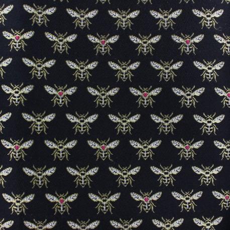 Jacquard fabric - black Bee x 10cm