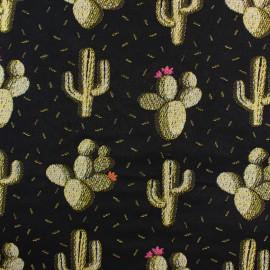 Tissu Jacquard Cactus - noir x 10cm