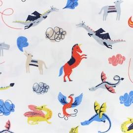 Cotton Dashwood fabric - navy Roaring good yarn x 10cm