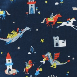 Cotton Dashwood fabric - navy Roaring good yarn x 10cm