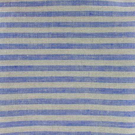Tissu torchon lin Rayures - bleu/taupe x 10cm