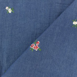 Tissu light jeans with embroidered flowers - aqua indigo x 10cm