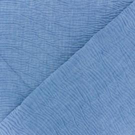 Tissu coton chambray gaufré Aspect jean - bleu clair x 10cm