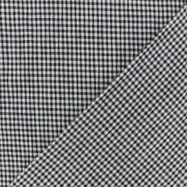 Tissu Seersucker petit vichy élasthanne - noir x 10cm