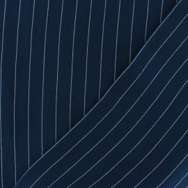 ♥ Coupon 70 cm X 150 cm ♥ Striped Viscose fabric - Navy Gabrielle