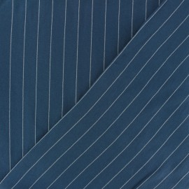 Striped Viscose fabric - Navy Gabrielle x 10cm