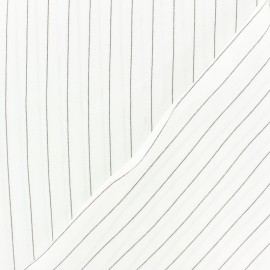 ♥ Coupon 50 cm X 150 cm ♥ Striped Viscose fabric - white Gabrielle