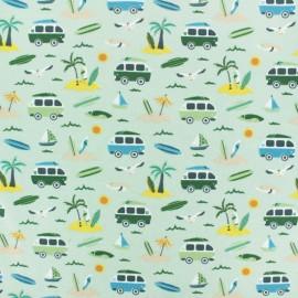 Tissu jersey Vamos a la playa - vert pâle x 10cm