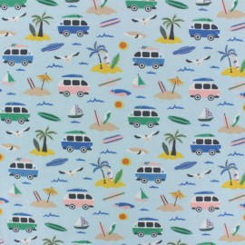 Cotton Jersey fabric - pale green Vamos a la playa x 10cm
