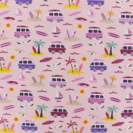 Cotton Jersey fabric - light pink Vamos a la playa x 10cm