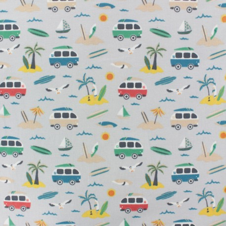 Cotton Jersey fabric - light grey Vamos a la playa x 10cm