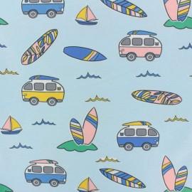Tissu jersey Summer van's Beach - bleu x 10cm
