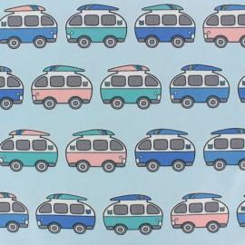 Tissu jersey Summer van's Traffic - bleu x 10cm