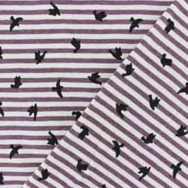 Striped Cotton Jersey fabric - Blue Clarisse x 10cm