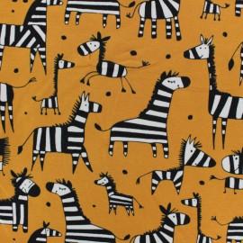 Cotton Jersey fabric - orange Angus the Zebra x 10cm