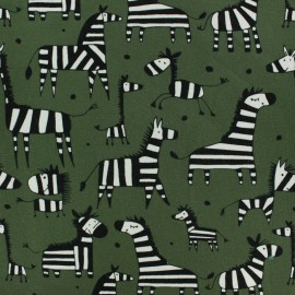 Cotton Jersey fabric - green Angus the Zebra x 10cm