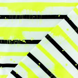Tissu jersey à rayures Neon Paint - jaune fluo x 10cm