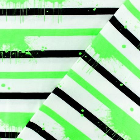 Striped Jersey fabric - Green Neon Paint x 10cm
