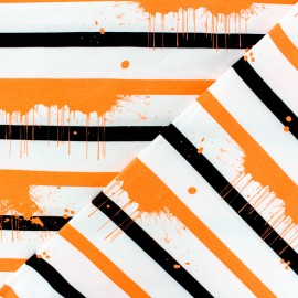 Striped Jersey fabric - orange Neon Paint x 10cm