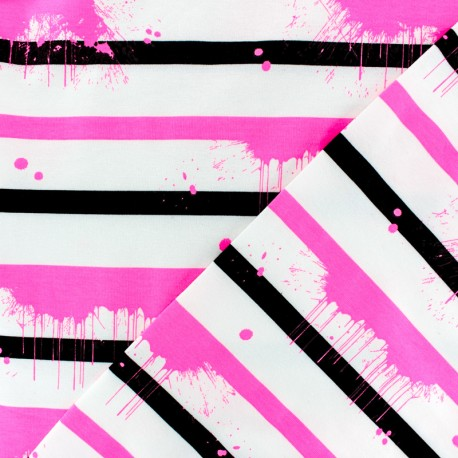 Striped Jersey fabric - pink Neon Paint x 10cm