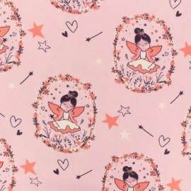Tissu jersey Fée rêveuse - rose x 10cm