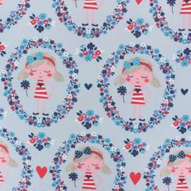 Cotton Jersey fabric - light Blue Dorothée x 10cm