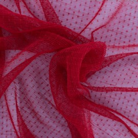 Point d'esprit Pleated Tulle fabric - Red Dorine x 10cm